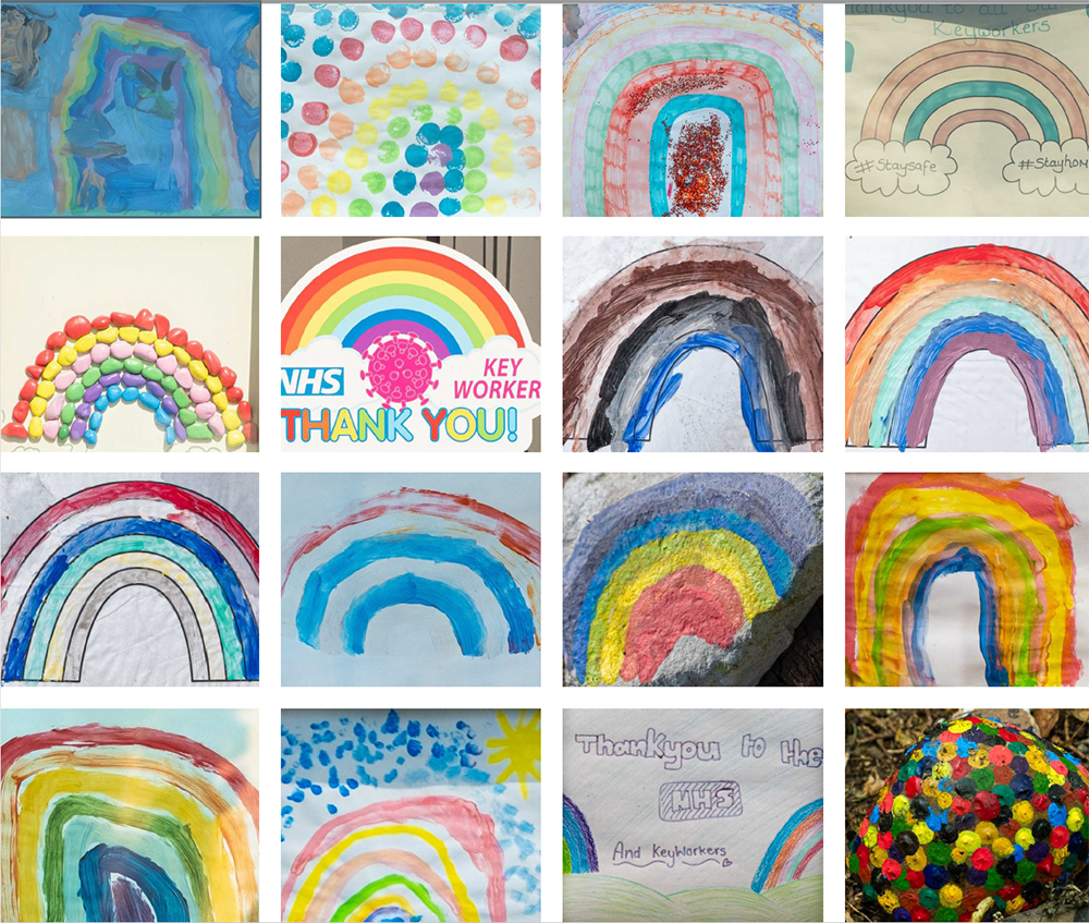 Rainbows painted by children during lockdown